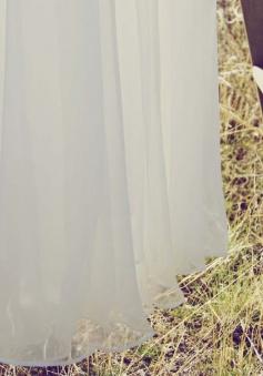 Simple Dress Handmade A-line Spaghetti Handmade Flowers Chiffon Long Prom Dresses/Evening Dresses CHPD-7142