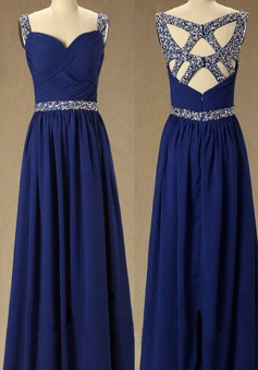 Special Beading Sweetheart Royal Blue Floor-length Chiffon Prom Dress