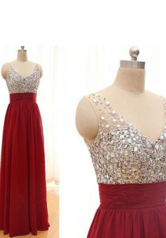 A-Line V-Neck Sleeveless Floor-Length Backless Red Chiffon Prom Dress with Beading