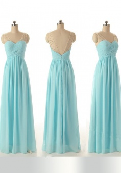 A-Line V-Neck Floor-Length Blue Chiffon Prom Dress with Beading Ruched