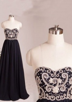Handmade Sweetheart Long Navy Chiffon Prom / Evening Dress