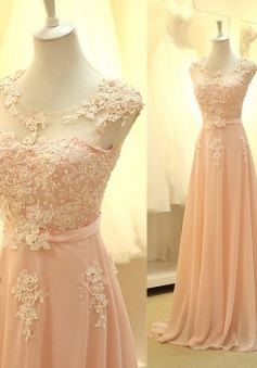 Simple Dress Elegant A-line Applique Beading Long Chiffon Prom/Evening Dresses  CHPD-7150