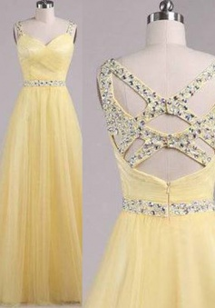 Hot-selling Scoop Floor-Length Daffodil Prom Dress with Beading