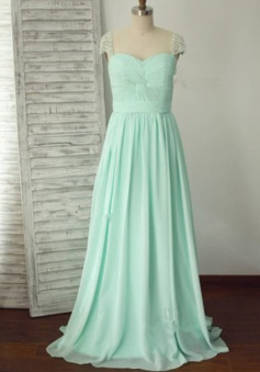 Simple Dress Elegant Pearl Capped Long Ruched Chiffon Prom Evening Dress