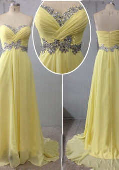 Simple Dress Elegant A-line Sequined Sweetheart Long Chiffon Prom Dresses/Evening Dresses   CHPD-7157