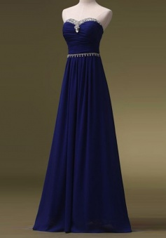 A-Line Sweetheart Floor-Length Royal Blue Chiffon Prom Dress with Beading