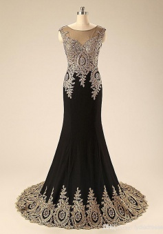 Simple Dress Luxurious Mermaid Black Long Appliques Chiffon Prom Dresses/Evening Dresses CHPD-7162
