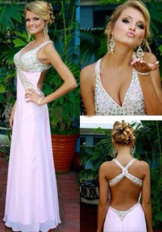 A-Line V-Neck Criss-Cross Pearl Pink Chiffon Prom Dress with Beading