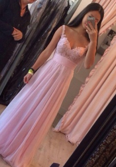 A-Line Spaghetti Straps Floor-Length Pink Chiffon Prom Dress with Appliques