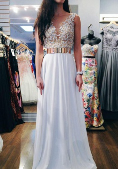 A-Line V-Neck Sweep Train Sleeveless White Chiffon Prom Dress with Beading Sash