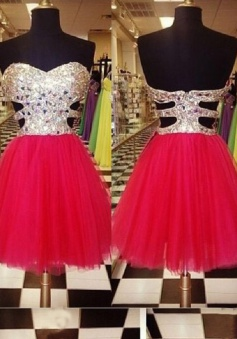 A-Line Sweetheart Short Red Tulle Prom/Homecoming Dress with Sequins