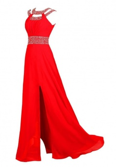 Simple Dress Elegant Beading Scoop Slit Long Chiffon Prom Dresses/Evening Dresses  CHPD-7187