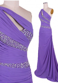 Simple Dress Mermaid Beading One-shoulder Long Prom Dresses/Evening Dresses   CHPD-7188