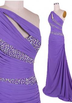 Simple Dress Mermaid Beading One-shoulder Long Prom Dresses/Evening Dresses   CHPD-7188