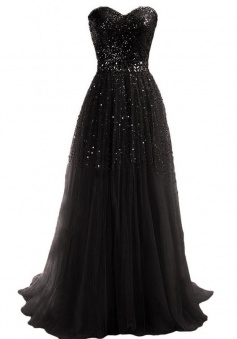 Simple Dress Handmade Sequin Sweetheart Long Tulle Prom Dresses/Evening Dresses  TUPD-7189