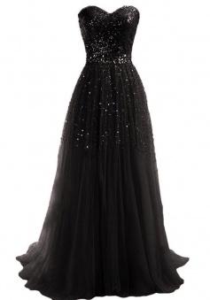 Simple Dress Handmade Sequin Sweetheart Long Tulle Prom Dresses/Evening Dresses  TUPD-7189