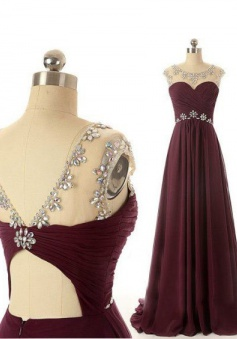 Scoop Sweep Train Open-back Chiffon Wine Red Long Prom Dress Evening Gowns With Beading