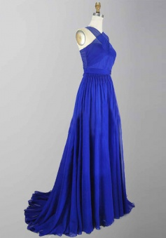 Special V-neck Sleeveless Sweep Train Royal Blue Prom Evening Dress Ruched