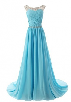 Elegant A-line Beading Scoop Long Chiffon Prom Evening  Dress