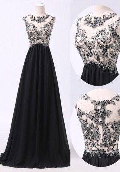 Handmade Beading Scoop Black Long Chiffon Prom/Evening Dress