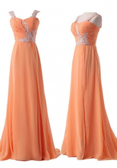 Elegant Sparkle Sweetheart Long Chiffon Prom / Evening Dress