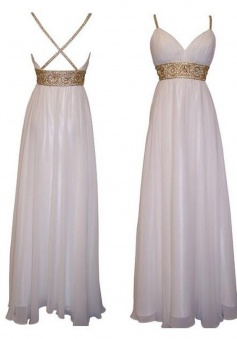 Elegant Sweetheart Spaghetti Long Chiffon Prom Evening Dress