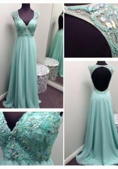 Simple Dress Handmade Beading Open-back Long Chiffon Prom Dresses/Evening Dresses   CHPD-7206