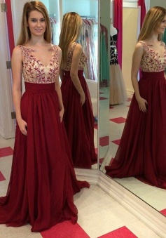 Elegant Jewel Illusion Neck Floor-Length Burgundy Prom Dress Ruched with Appliques
