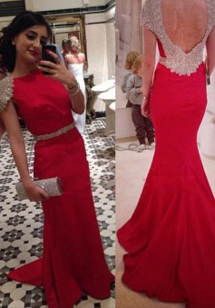 Elegant Mermaid High Collar Backless Floor Length Satin Beaded Prom Dress