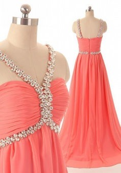Exquisite A-line Floor Length Chiffon Beaded Zipper Prom Dress CHPD-7214