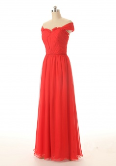 Charming A-line Sweetheart Ruched Floor Length Capped Chiffon Prom Dress