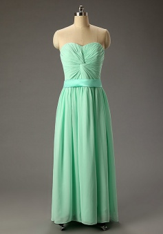 Charming A-line Sweetheart Floor Length Ruched Lace-up Chiffon Prom Dress