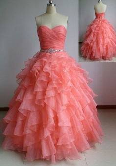 Hot-selling Ball Gown Sweetheart Floor Length Organza Beading Prom Dress