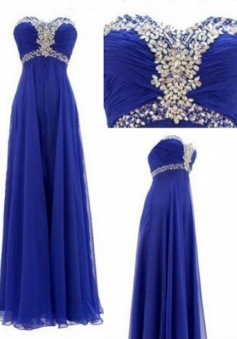 Hot-selling A-line Sweetheart Floor-length Ruched Chiffon Beading Prom Dress