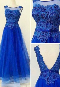 Romantic A-line Floor-length Scoop Backless Appliques Tulle Prom Dress