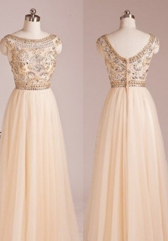 Latest A-line Scoop Capped Floor Length Chiffon Beading Prom Dress