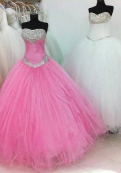 2015 Fashion Ball Gown Sweetheart Floor Length Tulle Beading Prom Dress TUPD-7342