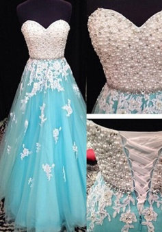 Luxurious A-line Sweetheart Pearl Applique Floor-length Prom Dresses/Quinceanera Dresses/Party Dresses   TUPD-7346