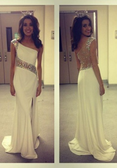 Elegant One-shoulder Chiffon Illusion Back Long Prom Evening Dress with Beading
