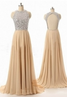 Generous Round Neck Sweep Train Champagne Prom Dress with Beading Open Back