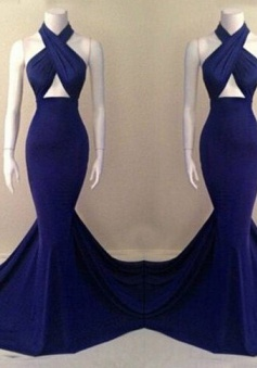 Elegant Mermaid Halter Court Train Royal Blue Long Prom Dress Evening Gowns With Ruched