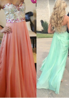 A-line Strapless Beading Long Chiffon Prom / Evening Dress