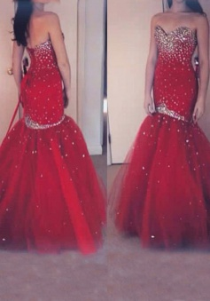 Luxurious Mermaid Long Red Gems Prom / Evening Dress