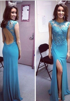 Elegant Mermaid Jewel Backless Floor-Length Prom Dress with Beading Legslit