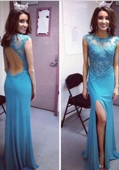 Elegant Mermaid Jewel Backless Floor-Length Prom Dress with Beading Legslit