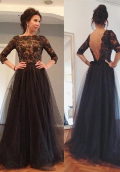 A-Line Bateau 3/4 Sleeves Backless Black Tulle Prom Dress with Beading