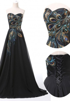 Princess Sweetheart Floor-Length Black Chiffon Prom Evening Dress with Embroidery