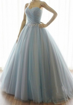 Handmade Strapless A-line Long Tulle Prom / Quinceanera Dress