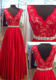 Elegant V-neck Long Red Lace Prom / Evening Dress with Beading Waist