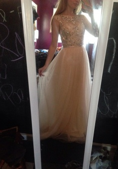 Handmade Scoop Sleeveless Beading Light Champagne Floor-Length Prom/Evening Dress